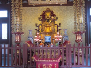 Altar at the Buddhist temple and caves in Hangzhou