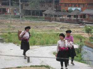 Yao women outside our hotel in Dazhai