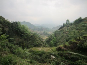 Light rain over the mountain rice terraces