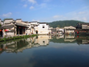 Blue water and sky in the ancient water town of Hongcun