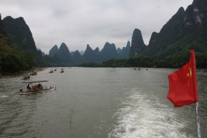 Smaller boats next to ours on the Li River