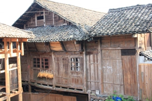 Mountain house with drying corn