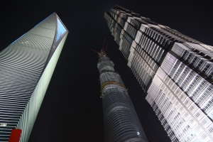 Iconic towers hold up the night sky
