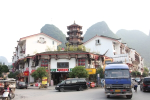 Clouds over a downtown street in Yangshuo