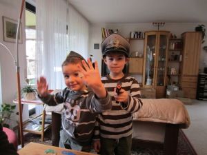 """Two of my nephews playing """"DDR,"""" wherein they issued us citations for being """"suspicious"""""""