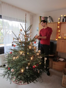 Chris decorating the tree