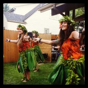 Polynesian dance troupe at a tiki party