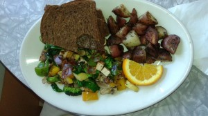 The tofu scramble with rye toast at Wanda's was great